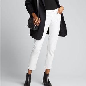 NWT Agolde Toni Mid Rise Jeans White Glowed Denim